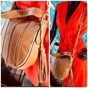 Michael Kors Caramel Brooklyn Grommet Bag
